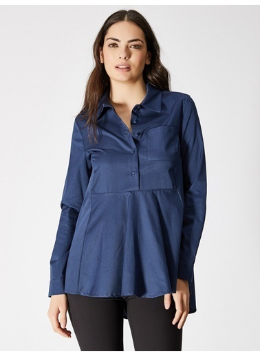 Vekem-Limited Edition Asimetrik Kesim Cep Detaylı Gömlek Mavi